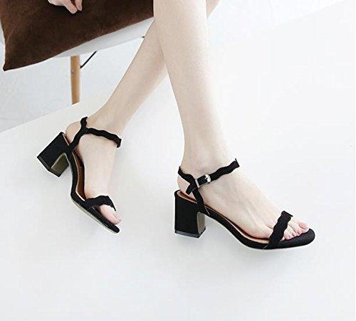 negro Moda 36 audaces elegante Sandalias de y de plana pescado Transpirable con labios 5cm AJUNR zapatos 36 color zadfxXz