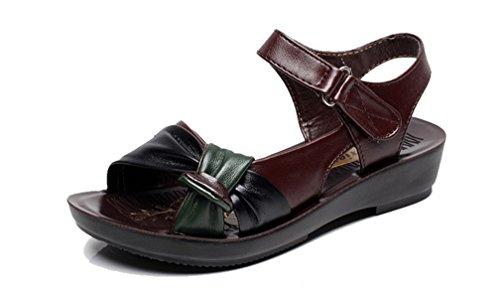 Femme Plage Marron d'été Sandales Ttravail Sandales de Plates Sabots Compensé et Noir Toe Peep Mules Marron Rouge Confort Cuir 2018 Chaussures H5qFwZaxa