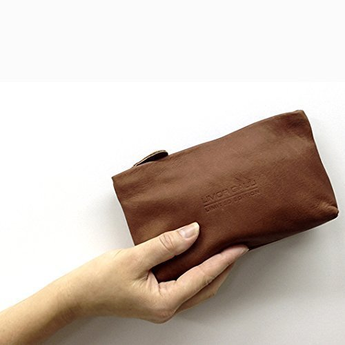bedc601fb963 Amazon.com: Soft Brown Leather Pouch Makeup case Small leather ...