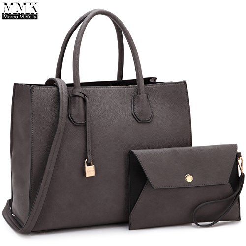 MMK collection Fashion Handbag with coin purse(XL-11) Classic Women Purse Handbag for Women` Signature fashion Designer Purse ~ Perfect Women Satchel Purse (XL-MA-23-7661-D.GY)