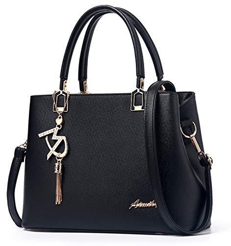 JHVYF Casual Top Handle Handbag Purse Tote Pu Leather Shoulder Bags Women #W Black ()