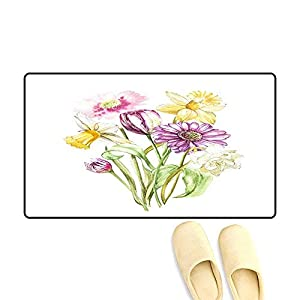 Floor Mat Pattern Spring Flowers Narcissus an Tulip Gerbera Isolate on White backgroun Watercolor han Drawn Illustration 47