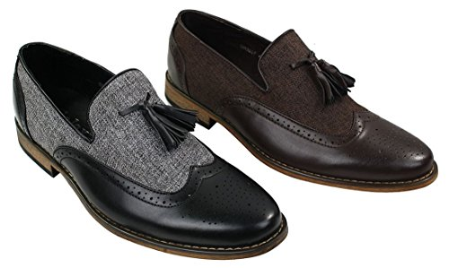 Mens Tweed & Leather Loafers Driving Shoes Slip On Tassle Design Vintage Retro Black sypfH4lNs
