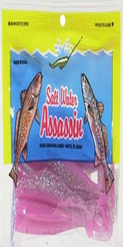 (Bass Assassin Saltwater Split Tail Shad, Pink, 4-Inch)