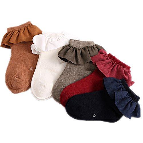 Colorful Childhood Baby Socks Toddler Girls Princess Ruffles Short Socks (0-2T(S), 5 Colors)