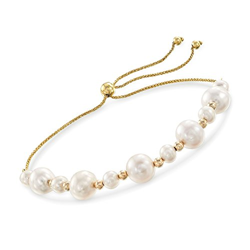 Ross-Simons 5-9mm Cultured Pearl and 14kt Yellow Gold Bead Bolo Bracelet
