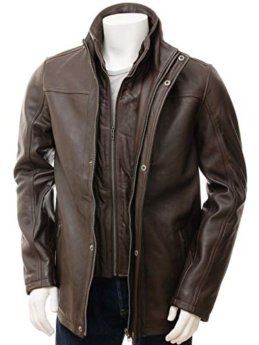 Brown Leather Jacket Men - Biker Style Distressed Lambskin Black Motorcycle Mens Leather Jackets
