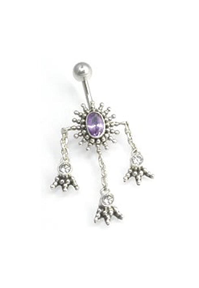 Painful Pleasures 14g 3//8 Biddy Feet Bali Sterling Silver Belly Button Ring