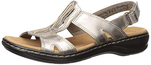CLARKS Women's Leisa Skip Sandal, Pewter Metallic, 65 M US