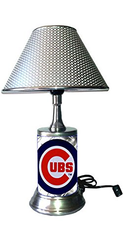 JS Table Lamp with Chrome Colored Shade, Your Favorite Team Plate Rolled in on The lamp Base, The Base Wrapped with Diamond Metal Plate, CC, ()