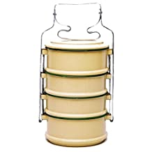 4 Tier Tiffin Food Carrier Box /Thai Rice Bowl Buddhist Style 14 cm