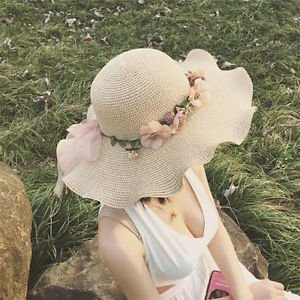 Image Unavailable. Image not available for. Colour  SLB Works Brand New  Women Ladies Summer Sun Beach Hat Outdoor Sun Hat with Flowers Elegant 1d8e4f9b9948
