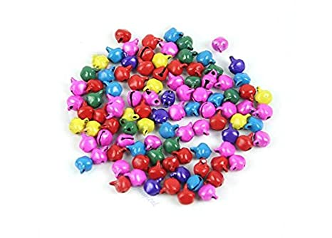 100pcs Jingle Small Bells Christmas Xmas Wedding Decoration Beads Jewelry Findings Charms (Silver Color, 12mm) Rubinson-store