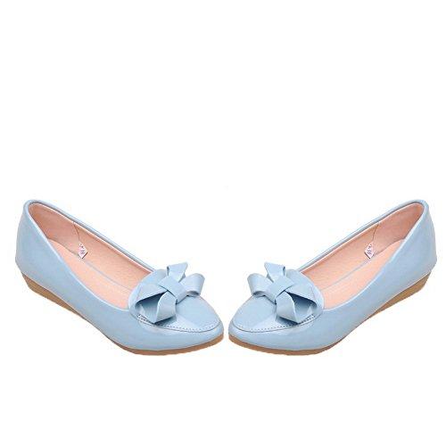 Amoonyfashion Dames Lakleer Ronde Neus Lage Hakken Pull-on Pumps-schoenen Blauw