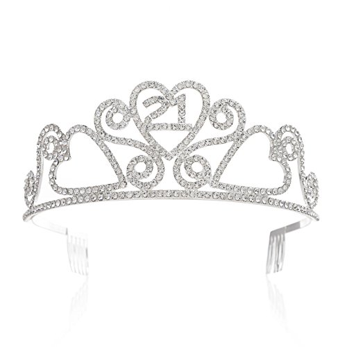 SWEETV Rhinestone Tiara Birthday Crown Princess Party Hat Hair Accessories 15/16/18/21/30/40/50/60/70th Birthday Gift,21st