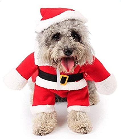 kwcake pet dog christmas xmas santa claus clothes funny dress costume clothes with hat for halloween