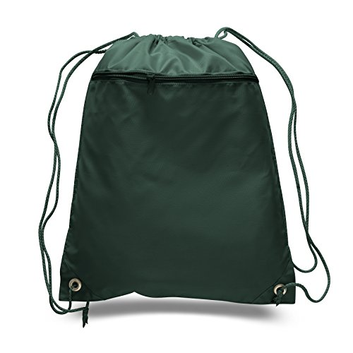 (SET OF 144) BagzDepot BULK Polyester Promotional Durable Gym Drawstring Backpacks with Front Zipper Pockets, Cinch Bags, Sack Packs in Bulk (Forest Green) by BagzDepot