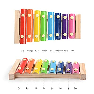 Xylophone Musician Toy Child Safe Wooden Mallets Little Hands Create Magical Sounds Colorful Educational Toys for Kids 1Set: Jewelry