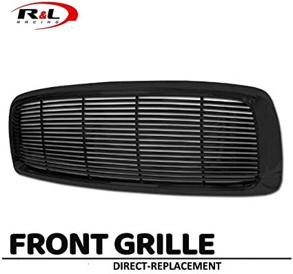 3500 R/&L Racing Black Finished Front Grill Horizontal Billet Hood Bumper Grille Cover 2002-2005 For Dodge Ram 1500//2500