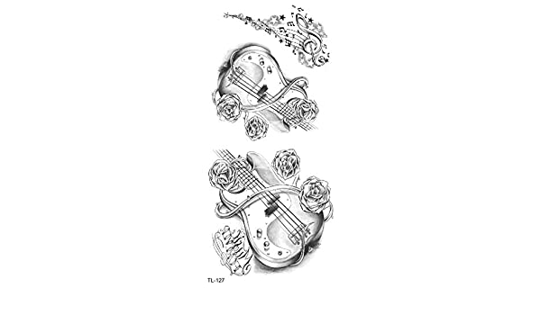 Tatuaje para guitarra, tatuaje, diseño de rosas, TL127: Amazon.es ...