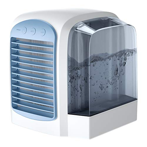 Fauean Portable Air Conditioner Fan, Mini Personal Evaporative Air Cooler Fan Misting Swamp Cooler Desk Humidifier Fan for Office Dorm Nightstand (Blue)