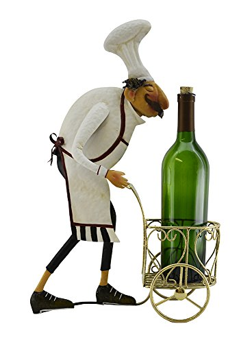Italian Chef with Golden Serving Cart Wine Bottle Holder Kitchen Stand Decoration Character by IMPORTED GIFT DEPOT