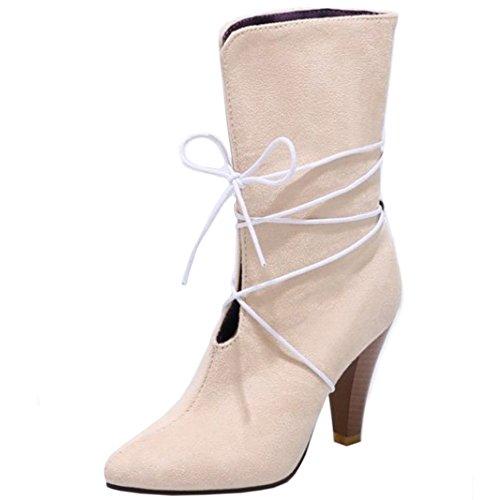 TAOFFEN Booties TAOFFEN apricot Women's Women's Boots ZqWw681