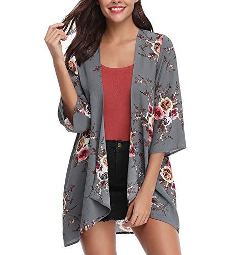 Women's 3/4 Sleeve Floral Kimono Cardigan, Sheer Loose Shawl Capes, Chiffon Beach Cover-Up, Casual Blouse Tops (A41-gray, Medium)