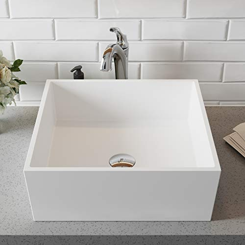 Kraus KSV-5MW Natura Bathroom Sink, Square 16.8 inch