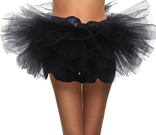 Simplicity Women's 5-Layered Tulle Tutu Party Dance Skirt Ballerina Dress Petticoat, Black
