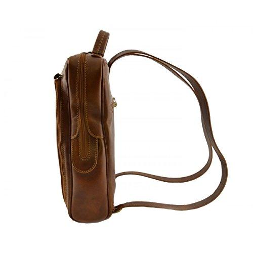 Echtes Leder Rucksack Für Mann Mit Fronttasche Farbe Cognac - Italienische Lederwaren - Rucksack