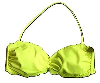 dd208fc8ee Amazon.com: Victoria's secret Pink Swimwear Scalloped Bandeau Top Color Neon  Yellow NWT Medium: Clothing