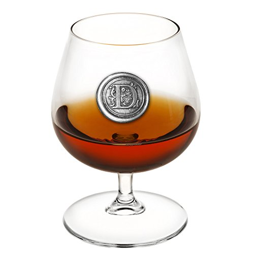 - English Pewter Company 14.5oz Brandy Cognac Snifter Glass With Monogram Initial - Personalized Gift With Your Choice of Initial (D) [MON204]