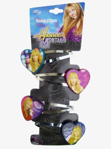 Disney Hannah Montana 4pc Hair Snap Clips with 4 Heart Charms Disney Hannah Montana Charm