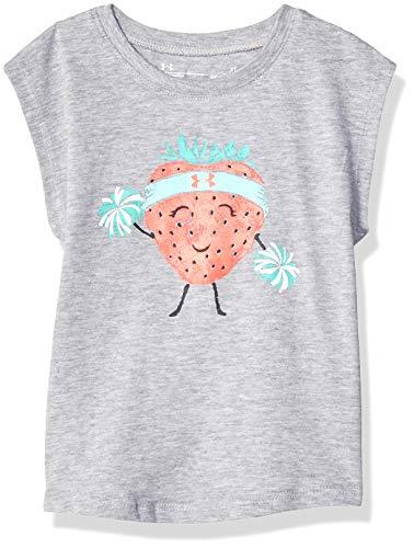 (Under Armour Girls' Toddler Basic Short Sleeve Graphic Tee Shirt, Moderate Gray-S19,)
