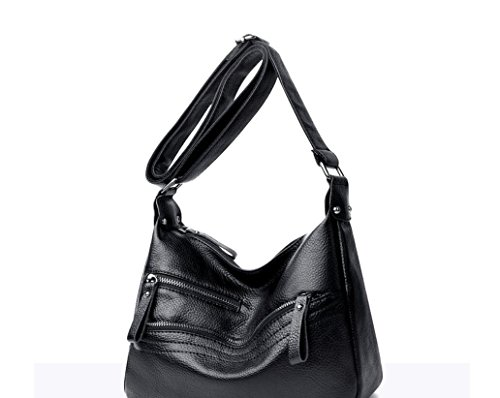 Black Bolsa Gran Con Solo Simple Hombro Un Capacidad Inclinada Moda Negro Meaeo Bolso wR7dxHfwq