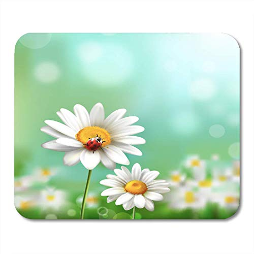 Mouse Pads Green Camomile Summer Meadow Realistic Daisy Flower and Ladybug Blue White Sun Mouse pad 9.8