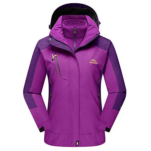 TACVASEN Women's Hooded Snow Jacket Hiking Mountain Skating Cycling 3 in 1 Jackets Raincoats Purple,US XL