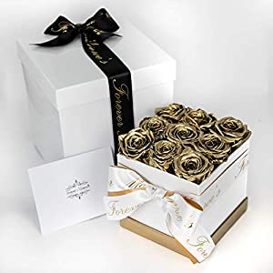 Forever Monroe's Metallic Gold Preserved Box of Roses that last a year, Rose Box for Personalized Valentines Gift for her 40