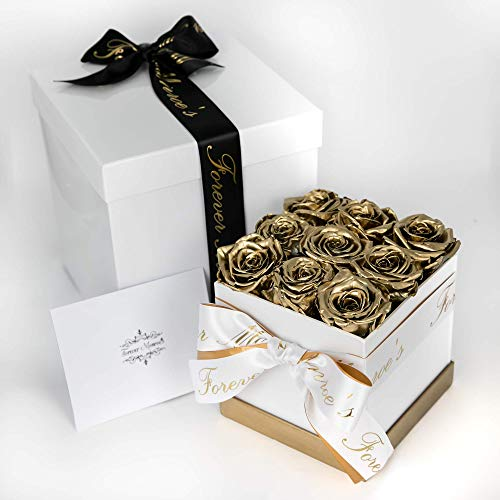 (Forever Monroe's Metallic Gold Preserved Box of Roses that last a year, Rose Box for Personalized Valentines Gift for her)