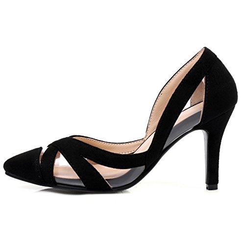 Coolcept Women Fashion Slip on Sandals Closed Toe Stiletto Shoes Black KmijPb