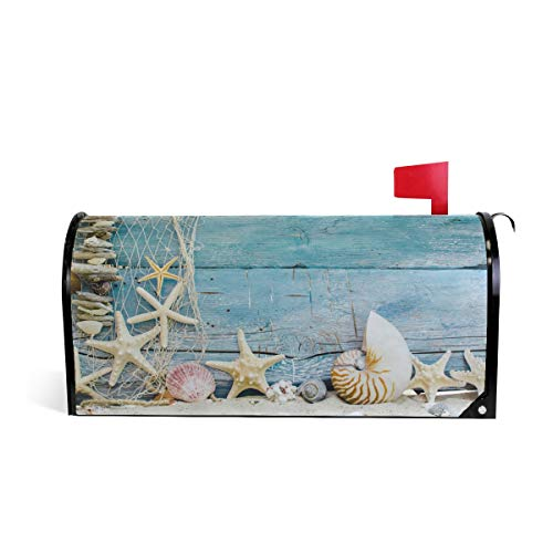 Starfish Shell Wall Magnetic Mailbox Cover Mailwraps for Medium Large Post-Mount Mail Box -