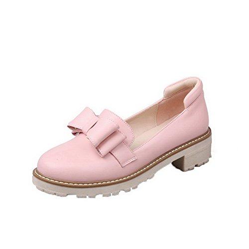AgooLar Damen Niedriger Absatz Ziehen auf PU Rein Rund Zehe Pumps Schuhe Pink