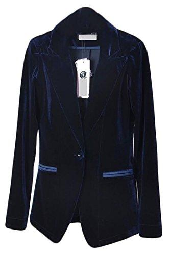 Alion Women Slim Fit Button Velvet Solid Color Suit Blazers Dart Blue (Blue Velvet Blazer)