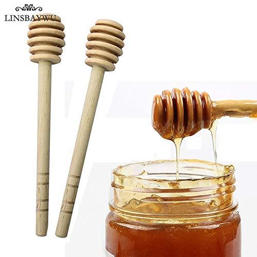 Decorating Spoons Wooden (Fiesta 2Pcs Wooden Honey Dipper Stirring Stick Rod Spoon Dip Drizzler Long Wooden Mini Bee Honey Dipper Stirrer Muddler 16CM Hot Sale)