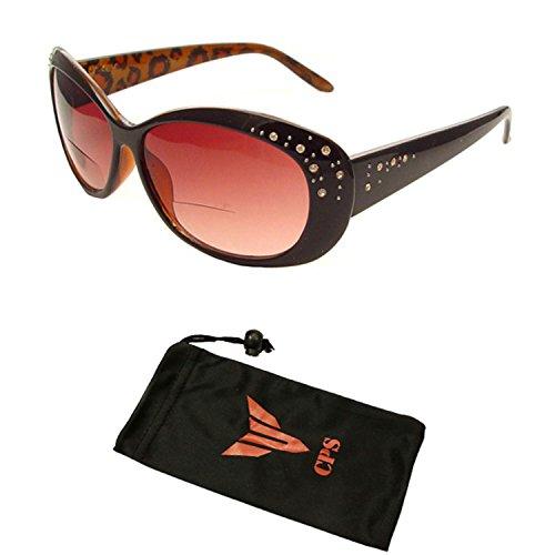 (#SR20032-RH Brw) Beautiful Women's Rhinestone Bifocal Sun Readers Reading + Sunglasses All In One ( Strength : +3.00 - Discount Sunglasses