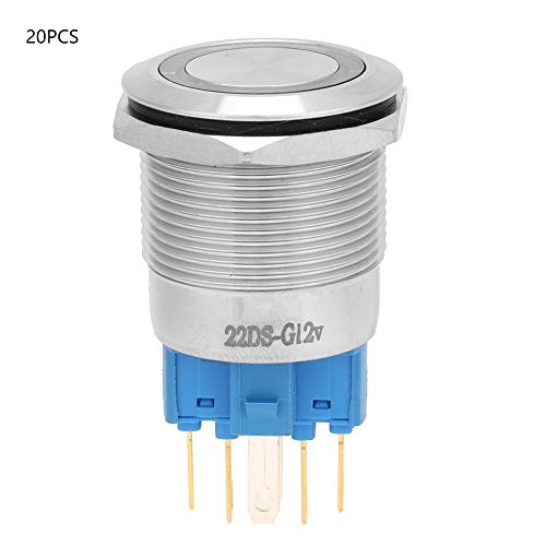 自動ロックボタンスイッチ、20個12VDC IP65防水22mmステンレス鋼2NO + 2NCフラットスターリングスイッチ、スターターリレーコンタクター用ライト付き(緑)