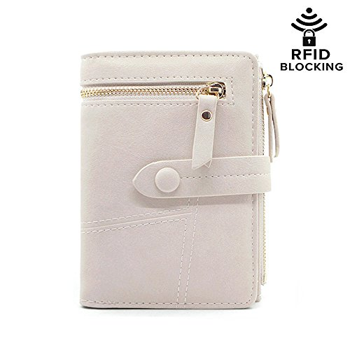 - RFID Blocking Soft Leather Short Wallet Card Holder Cash Coin Organized Large Space Zipper Exterior Pocket Travel Purse for Women Girls (#2 Beige)