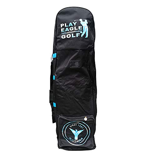 - PLAYEAGLE Golf Travel Bag Cover with Wheels Foldable Double Zipper Lightweight Trolley Rain Cover with Password Lock Hole,Golf Airplane Cover Bag Outdoor Golf Club Bag (Blue)