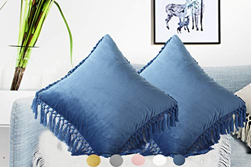 "Velvet Decorative Euro Throw Pillow Cases Cushion Covers with Tassels Fringe Soft Solid Square 26""x26"" Pack of 2 Ocean Blue for Christmas Couch Sofa Car Bed Daybed Chair"